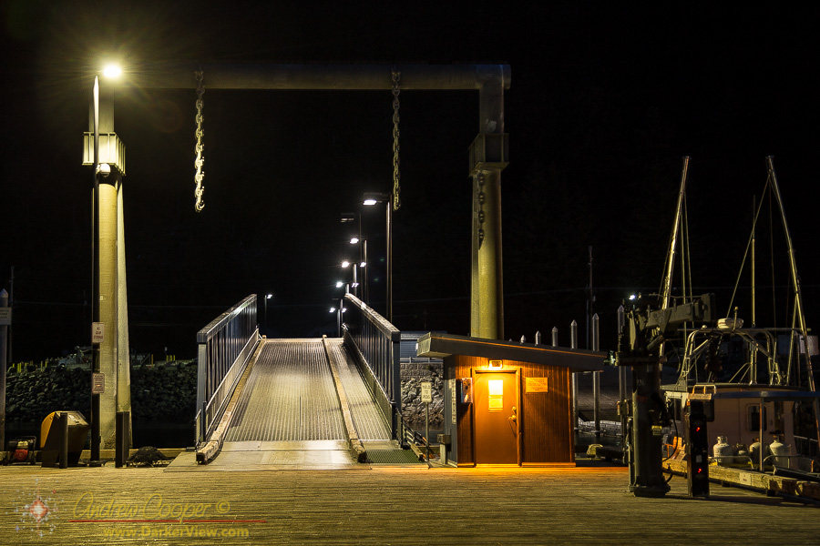 An Auke Bay dock ramp under the lights